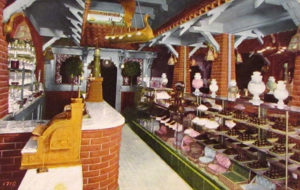 The Chocolate Shop, originally located at 207 W. Fifth Street (across the street from the Alexandria Hotel), prior to 1914. This location is now the CB1 Gallery. (Bizarre Los Angeles)