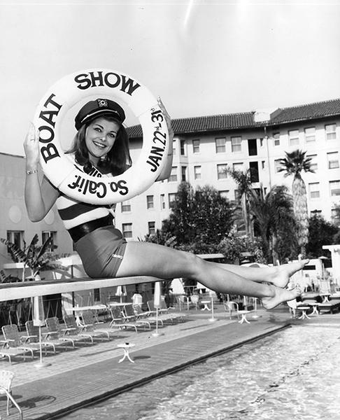 """Miss Boat Show"" Bi Egnell at the Ambassador Hotel in 1964. (LAPL 00124786)"