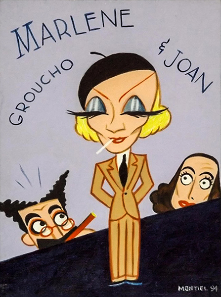 Groucho Marx, Marlene Dietrich and Joan Crawford. Artist: H. Pierre Montiel. Year: 1994. Acrylic on board. Bizarre Los Angeles