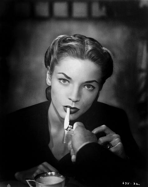 Lauren Bacall smoking