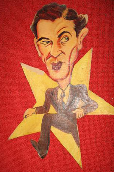 A caricature of Gary Cooper from the Ambassador Hotel's Field & Turf Club. Bizarre Los Angeles