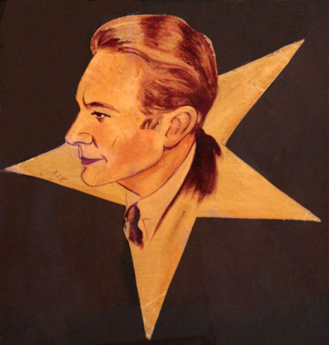 A caricature of Gene Raymond from the Ambassador Hotel's Field & Turf Club. I own this one, too. (Bizarre Los Angeles)