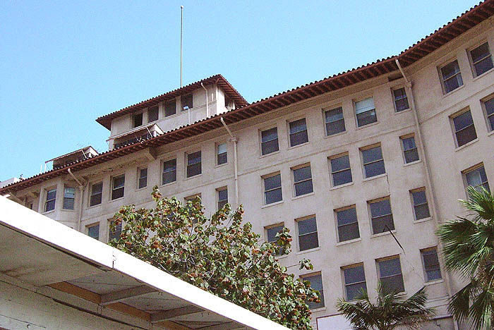 Looking up at the Los Angeles Ambassador Hotel. (Bizarre Los Angeles)