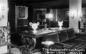 Los Angeles Ambassador Hotel Theatre Lobby, c. 1920s. (Bizarre Los Angeles)