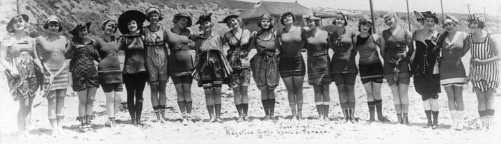 Mack Sennett Bathing Beauties line up in Santa Monica in 1917. (Bizarre Los Angeles)