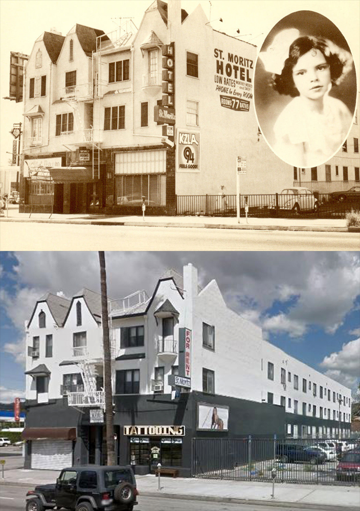 The St. Moritz Hotel, located at 5849 Sunset Boulevard, was built around 1924. According to information found on the back of the postcard above, Judy Garland and her family stayed at the hotel in 1926 on their first visit to Los Angeles. The top photo was taken by Paul Adrian in 1979. The bottom photo was taken from Google Maps. (Bizarre Los Angeles)