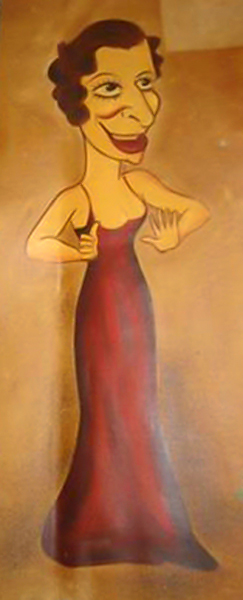 A Fanny Brice caricature from the Los Angeles Ambassador Hotel's Field & Turf Club. (Bizarre Los Angeles)