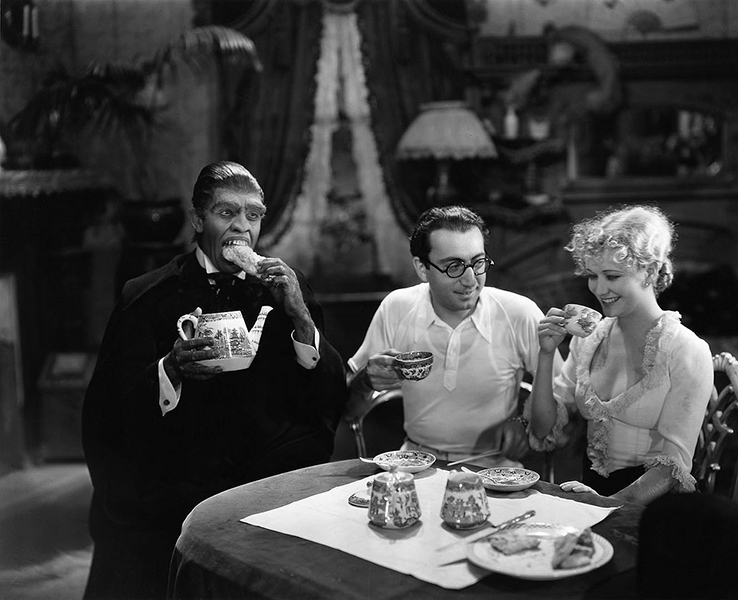"""Frederic  March, Rouben Mamoulian and Miriam Hopkins on the set of """"Dr. Jeckyll and Mr. Hyde."""" Bizarre Los Angeles"""