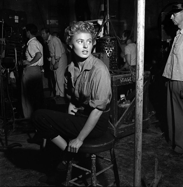"""Ingrid Bergman on the set of """"For Whom the Bell Tolls"""" (1943)"""