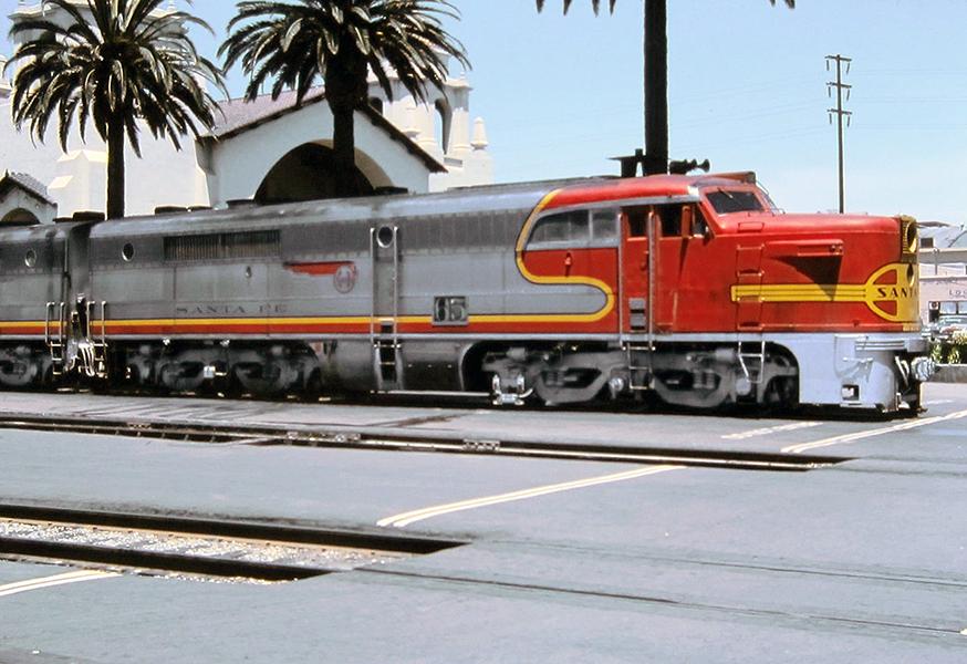 1963 SANTA FE Kodachrome Union Station LOS ANGELES Train