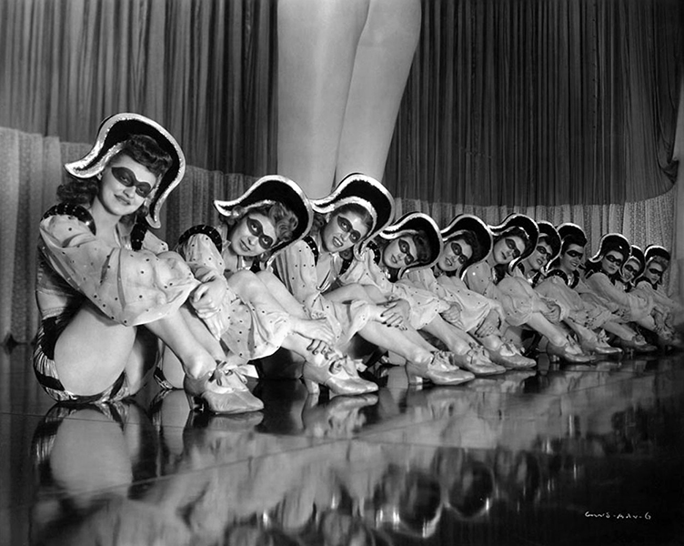 Chorus girls from the RKO movie, George White's Scandals (1945). Bizarre Los Angeles