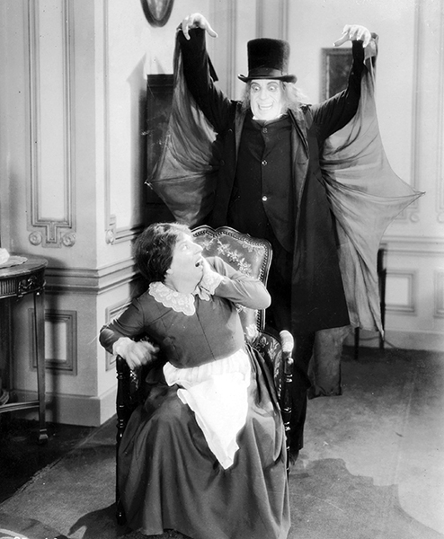 """""""I hope I shall never be accused of striving merely for horrible effects."""" -- Lon Chaney, shown, here, in a still from the lost film London After Midnight (1927)."""