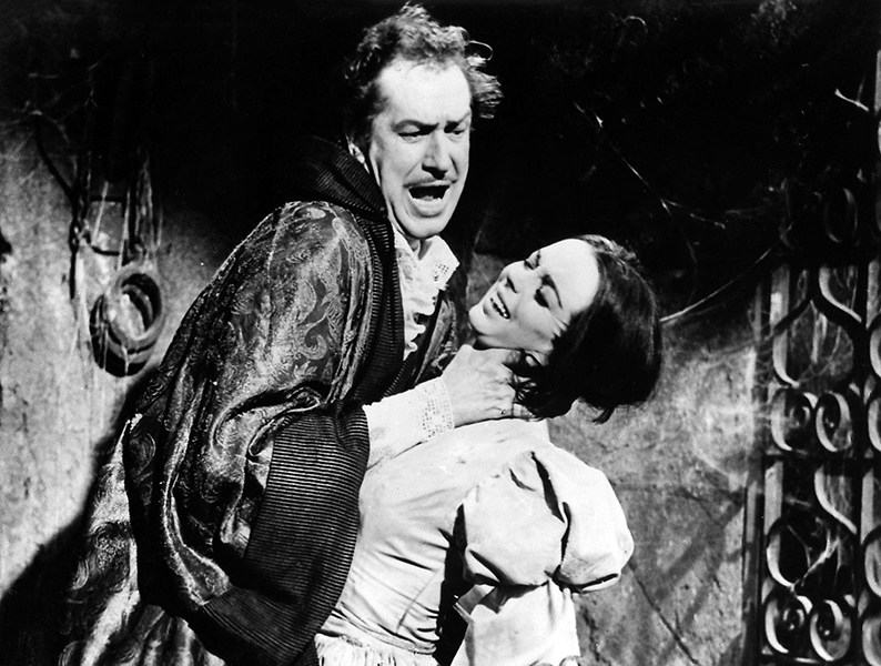 Vincent Price & Barbara Steele in The Pit & the Pendulum (Bizarre Los Angeles)