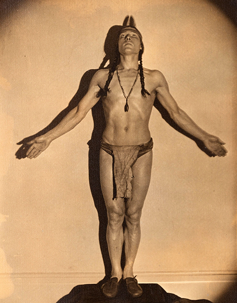 "Rudolph Valentino posing as his spirit guide, ""Black Feather."" 1925. Photographer: Russell Ball. Bizarre Los Angeles"