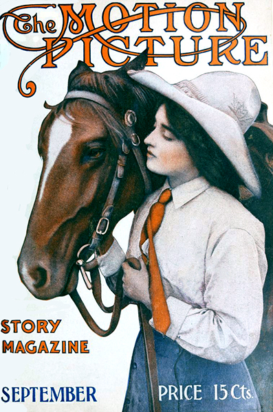 Alice Joyce and a horse on the cover of The Motion Picture Story Magazine, September 1913. (Bizarre Los Angeles)