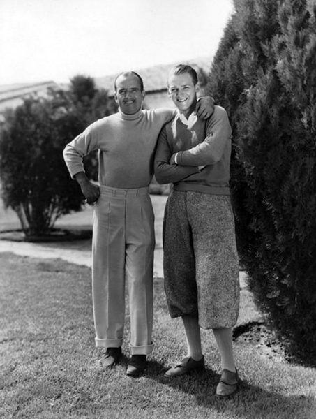 Douglas Fairbanks Sr and Jr. pose for a 1930s portrait. (Bizarre Los Angeles)