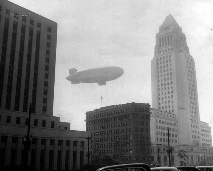 Los Angeles City Hall Navy Blimp 1954