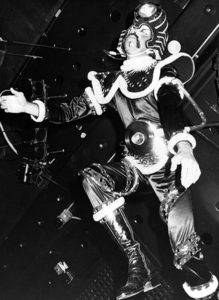 """A DJ dressed as a spaceman used to """"fly"""" along an overhead track at the downtown Dillon's, a three-story discotheque on the corner of Grand and 5th Street. Photo taken in 1978. (LAPL 00055178) Bizarre Los Angeles"""