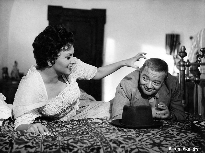 "Gina Lollobrigida and Peter Lorre on location for ""Beat the Devil"" (1953) Bizarre Los Angeles"