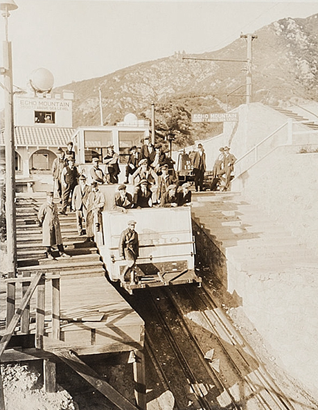 Harold Lloyd and a film crew on location at Echo Mountain. (Bizarre Los Angeles)