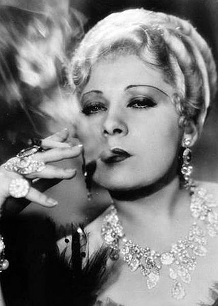 Mae West smoking