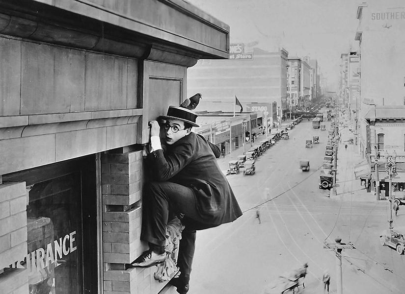 Harold Lloyd in SAFETY LAST (1923). Bizarre Los Angeles.