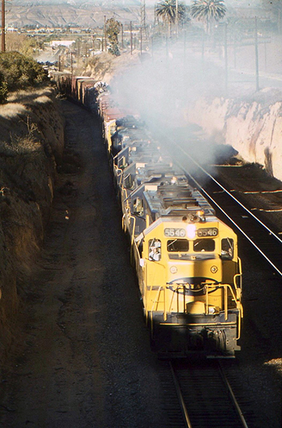 Santa Fe Railroad engine 5546 traveling to Los Angeles in June of 1975.