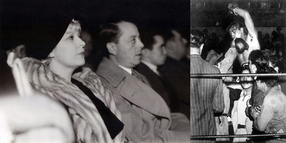"""""""A dame that knows the ropes isn't likely to get tied up."""" – Mae West In this picture, dated December 5, 1933, West is at the Olympic Auditorium, watching a boxing match between bantam weights Rodolfo Casanova and Speedy Dado. Casanova won the fight by decision and was believed to have been one of West's conquests as well. Bizarre Los Angeles"""