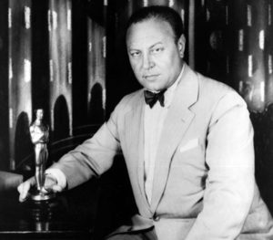 Emil Jannings with an Academy Award statuette. Bizarre Los Angeles