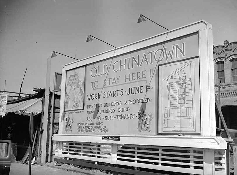 A billboard in a section of Old Chinatown, circa 1938. (University of California) Bizarre Los Angeles