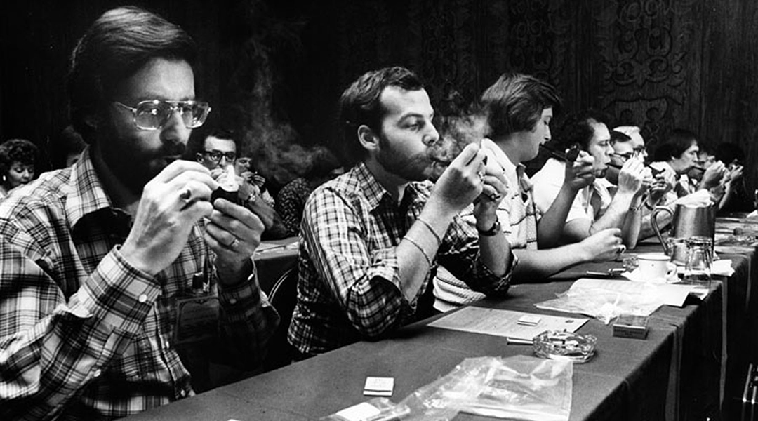 A pipe smoking contest held at the Hall of Cities, Marriott Hotel, Century and Airport Blvds, on August 17, 1978. The event was sponsored by Tinder Box and Dunhill of London. (Photographer: Rob Brown / LAPL 00091223) Bizarre Los Angeles