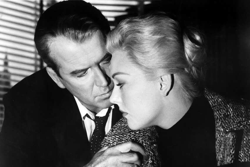"James Stewart and Kim Novak in ""Vertigo"" (1958)"