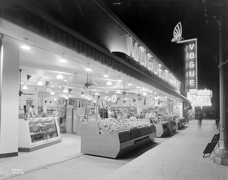 The Vogue Market, adjacent to the Vogue Theater in Long Beach Blvd in South Gate, circa 1938. The theater was a year old at the time. (Bizarre Los Angeles)
