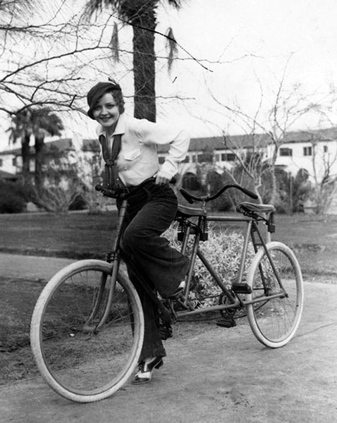 Nancy Carroll on a bike. (Bizarre Los Angeles)