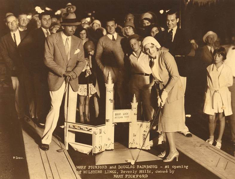 Opening night, August 29, 1930, at Mary Pickford's Wilshire Links with Pickford and Douglas Fairbanks on hand. (Bizarre Los Angeles)