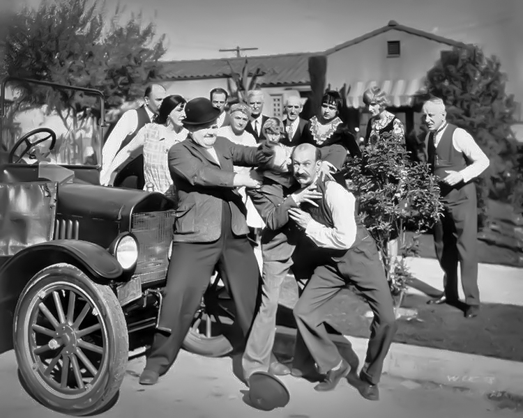 """Laurel and Hardy in """"Big Business."""" (Bizarre Los Angeles)"""