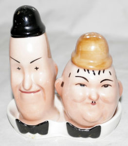 Vintage Laurel and Hardy salt and pepper shakers. Some say they were made in the early 1940s, some believe they are from the early 1960s...hard to know for sure. (Bizarre Los Angeles)