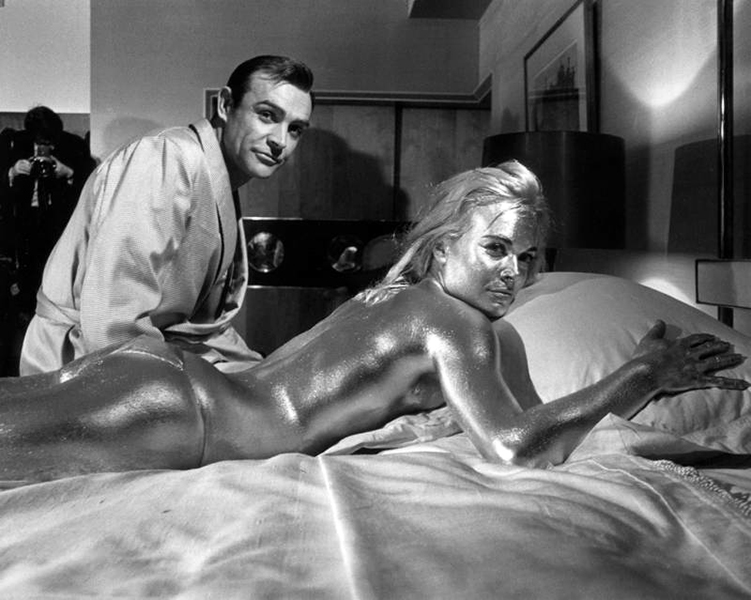 """Sean Connery and Shirley Eaton in """"Goldfinger"""" (1965) Bizarre Los Angeles"""