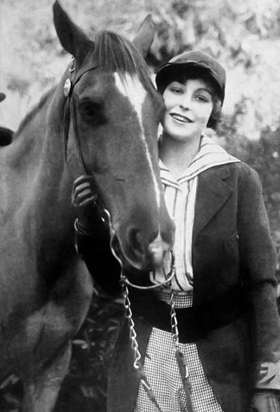 Seena Owen and a horse (Bizarre Los Angeles)