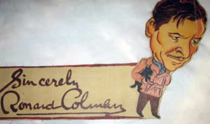 A Ronald Colman caricature from the Ambassador Hotel's Field & Turf Club.
