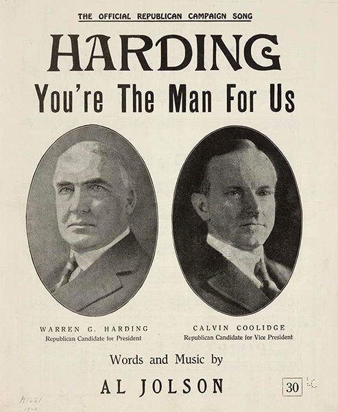Harding you're the man for us Al Jolson