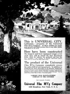 Universal City ad from 1920. (Bizarre Los Angeles)