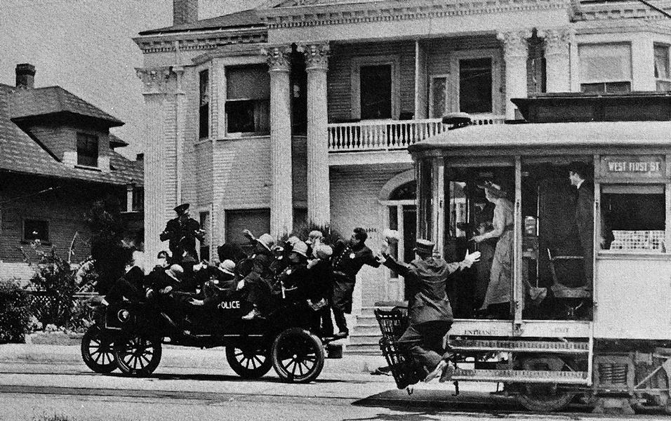 Mack Sennett's Keystone Kops in action. (Bizarre Los Angeles)