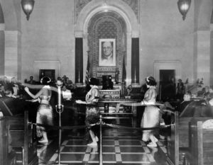 June 8, 1938. Hula dancers perform inside the Los Angeles City Council Chamber accompanied by a ukulele and guitar orchestra. (LAPL) Bizarre Los Angeles