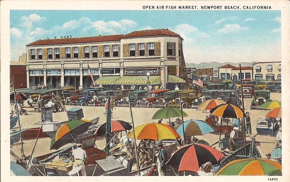 """Open Air Fish Market"" at Newport Beach, 1930s. (Bizarre Los Angeles)"