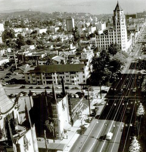 Aerial vintage view of Hollywood Blvd. (Bizarre Los Angeles)