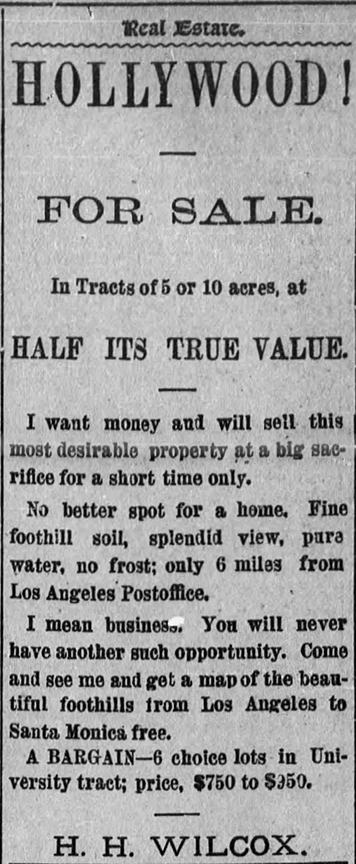 Hollywood for Sale in 1889 (Bizarre Los Angeles)