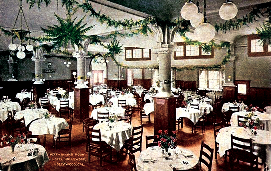 The Hotel Hollywood's dining room, circa 1915. (Bizarre Los Angeles)
