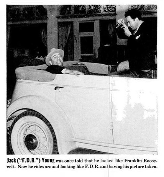 "Long before a variety of costumed characters began strolling around Hollywood Boulevard looking for a photo op, there was Jack ""FDR"" Young in 1938, seen here on Hollywood Boulevard. (Bizarre Los Angeles)"