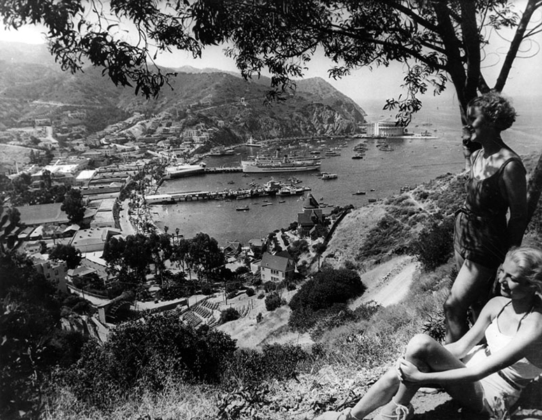 Catalina Island: a view of Avalon Bay, Catalina Casino and the S.S. Catalina from a mountaintop. Photo is undated but was taken after 1932. Bizarre Los Angeles